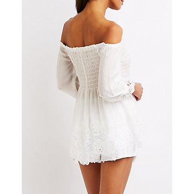 Crochet-Trim Off-The-Shoulder Babydoll Top