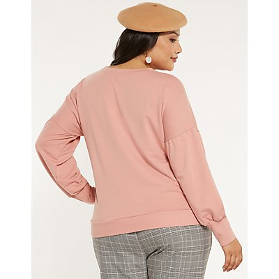 Plus Size Balloon Sleeve Sweatshirt