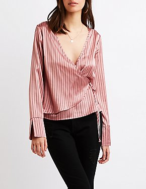 Striped Satin Wrap-Front Top