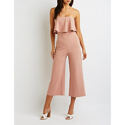 Ruffle Strapless Crop Jumpsuit
