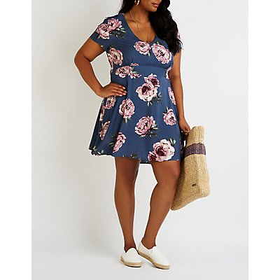 Plus Size Printed V Neck Dress