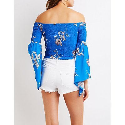 Floral Smocked Bell Sleeve Top