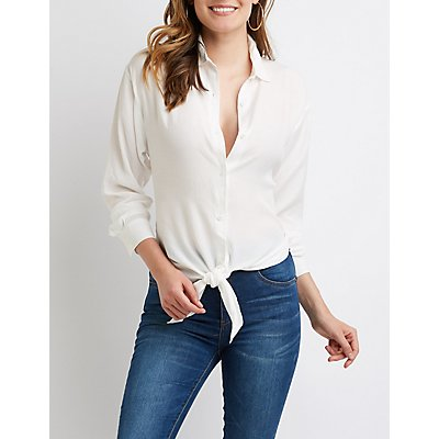 High Low Button Up Top by Charlotte Russe