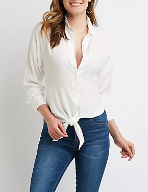High Low Button Up Top