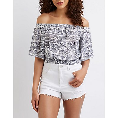 Paisley Off The Shoulder Crop Top by Charlotte Russe