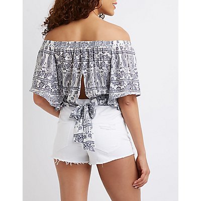 Paisley Off The Shoulder Crop Top