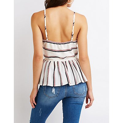 Striped Button-Up Babydoll Top