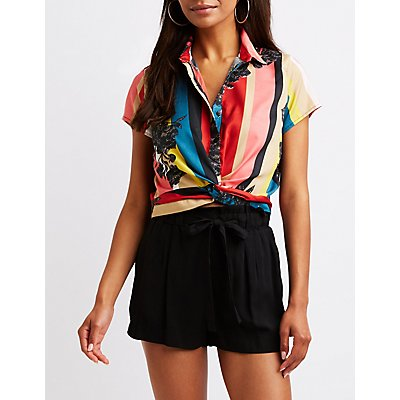 Twist Front Button Up Top