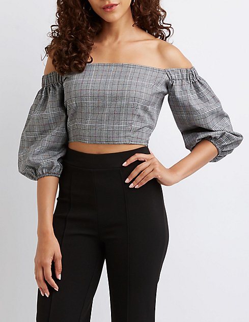 7e1fac4b81ec53 plaid-off-the-shoulder-bubble-sleeve-crop-top by