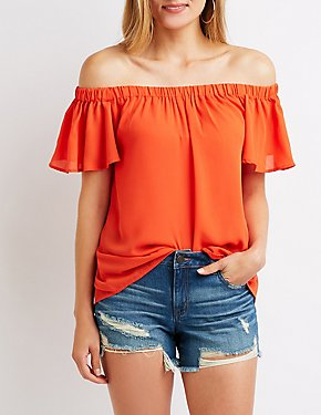 Flutter Sleeve Off The Shoulder Top