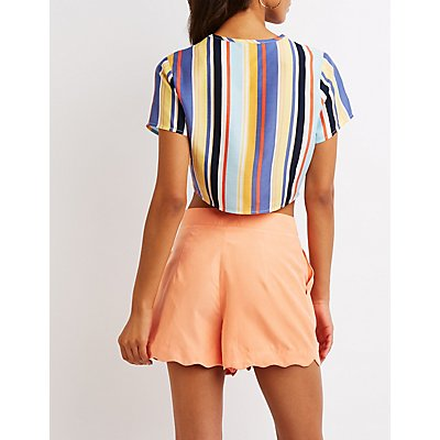 Striped Tie-Front Crop Top