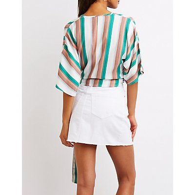 Striped Surplice Kimono Sleeve Crop Top