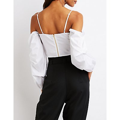 Twist-Front Cold Shoulder Crop Top