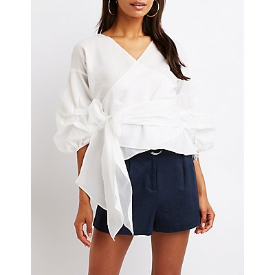 Pintuck Sleeve Wrap Top
