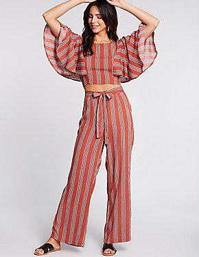 Striped Tie Front Palazzo Pants