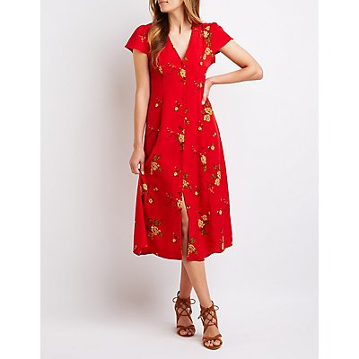 Floral Button Up Midi Dress | Tuggl