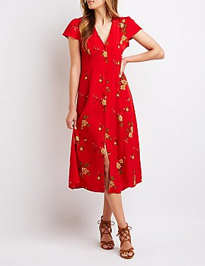 Floral Button Up Midi Dress