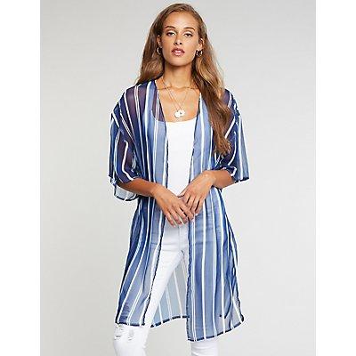 Striped Open Front Kimono