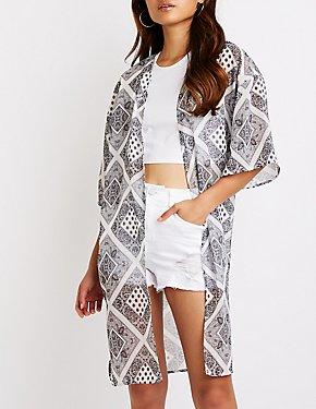 Paisley Open-Front Kimono