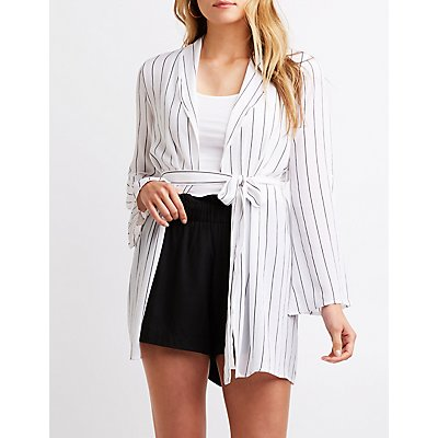 Striped Tie Front Kimono by Charlotte Russe