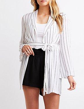 Striped Tie Front Kimono