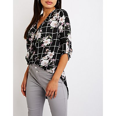 Floral Windowpane Wrap Top