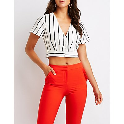 Striped Button Up Crop Top