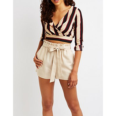 Stripe Wrap Crop Top