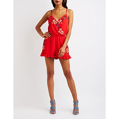 Floral Embroidered Surplice Romper
