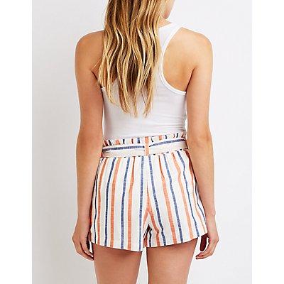 Striped Belted Paperbag Shorts