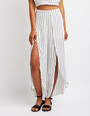 Striped Slit Wide Leg
