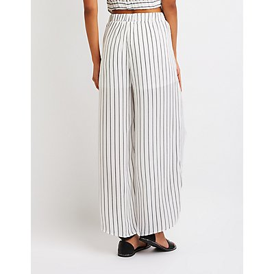 Striped Front Slit Palazzo Pants