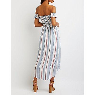 Striped Off The Shoulder Maxi Dress