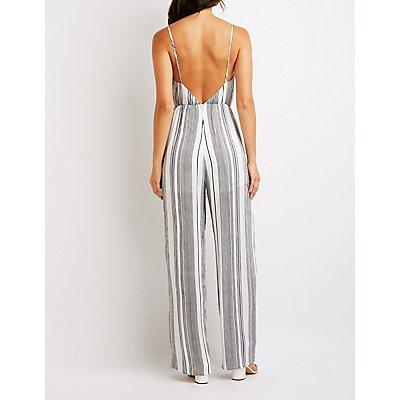 Striped Faux Wrap Jumpsuit