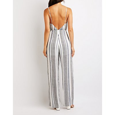 Striped Faux Wrap Jumpsuit