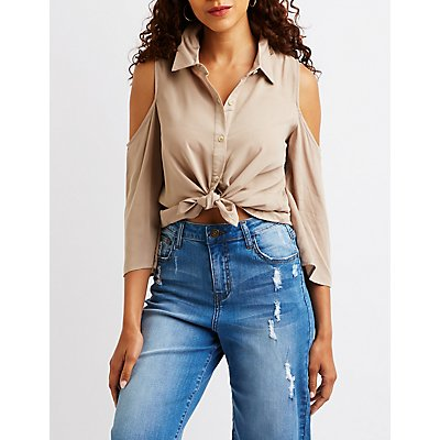 Button Up Cold Shoulder Top