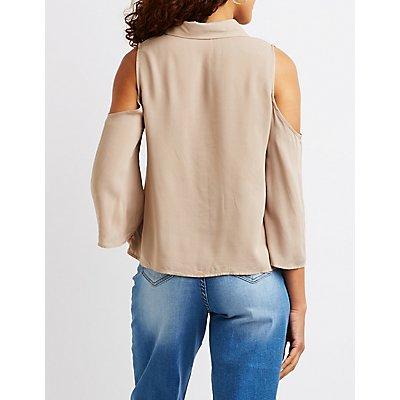 Button Up Cold Shoulder Top