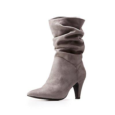 Ruched Kitten Heel Boots