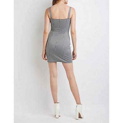Houndstooth Zip Up Bodycon Dress