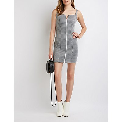 Houndstooth Zip Up Bodycon Dress