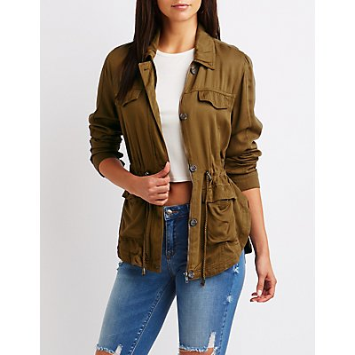 Cinched Waist Anorak Jacket