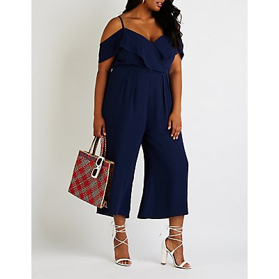 Plus Size Cold Shoulder Wrap Jumpsuit