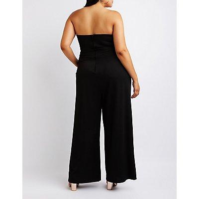 Plus Size Notched Strapless Jumpsuit