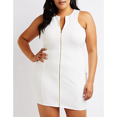 Plus Size Zip Front Bodycon Dress