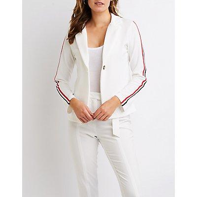 varsity-stripe-blazer by charlotte-russe