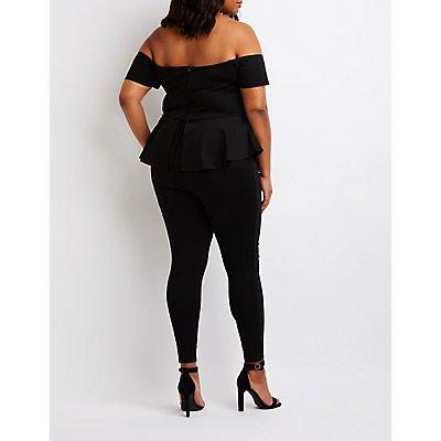 Plus Size Off The Shoulder Peplum Jumpsuit