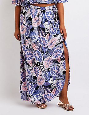 Plus Size Tropical Maxi Skirt