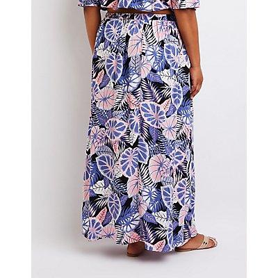 Plus Size Tropical Maxi Skirt