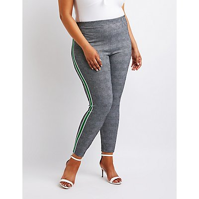 Plus Size Striped Houndstooth Leggings