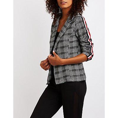 Plaid Striped Sleeve Blazer